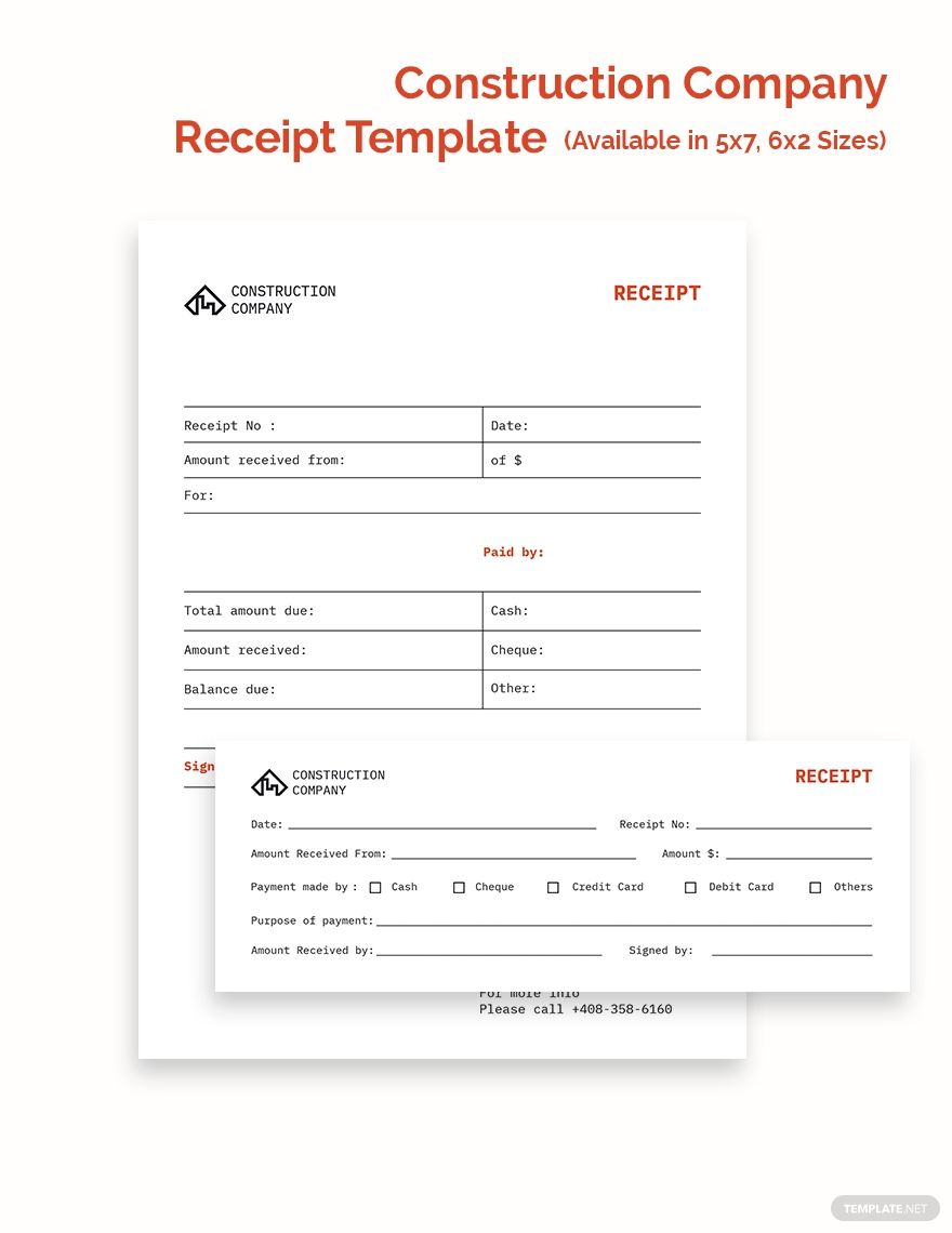 Free Basic Construction Company Receipt Template Google Docs Google Sheets Excel Word Template Net Receipt Template Construction Company Infographic Design Free