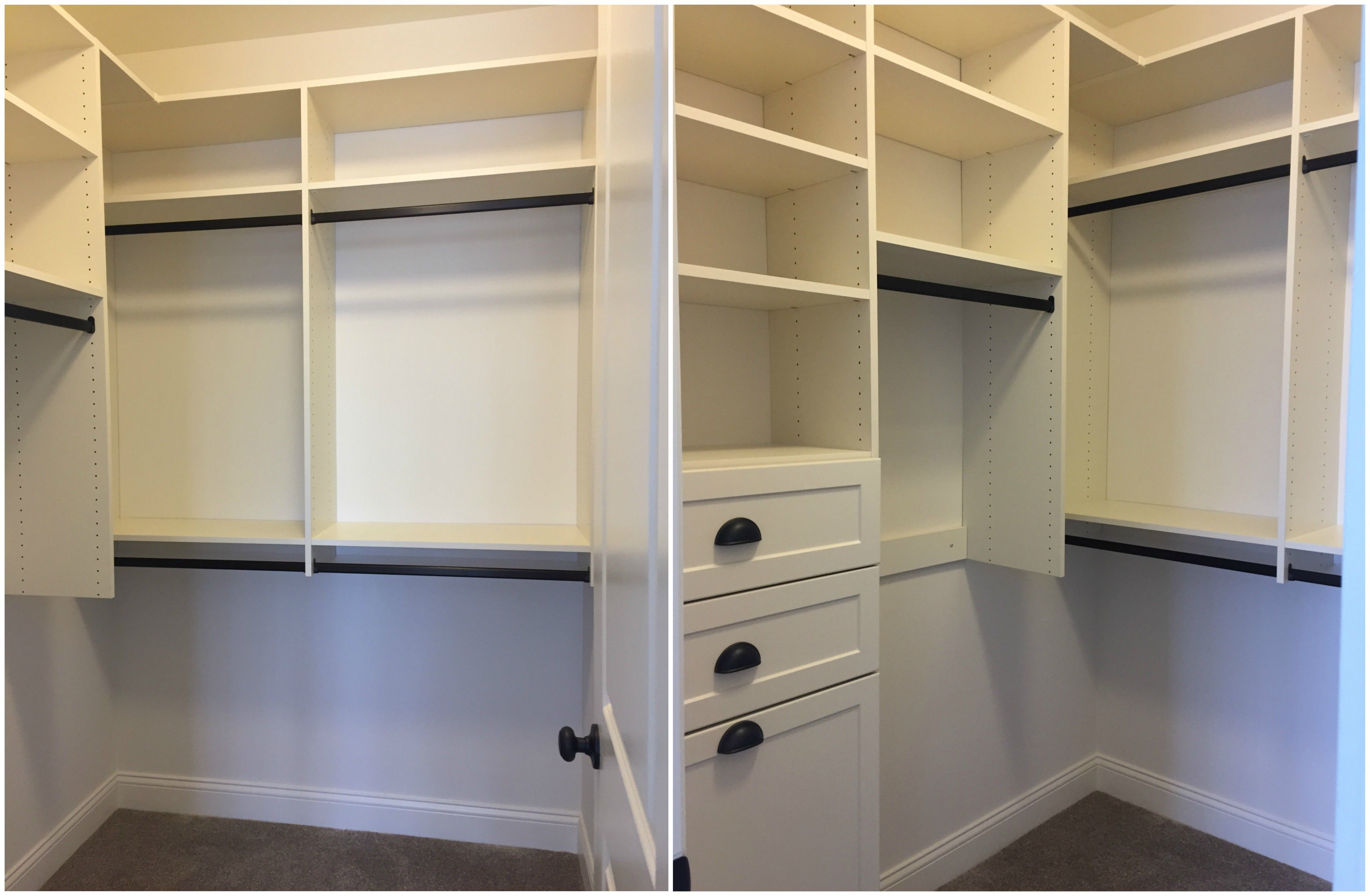 White Melamine Walk In Closet With Adjustable Shelving Double Hang Long Hang Drawers And Pull Out Hamper Dra Adjustable Shelving Walk In Closet Double Hung
