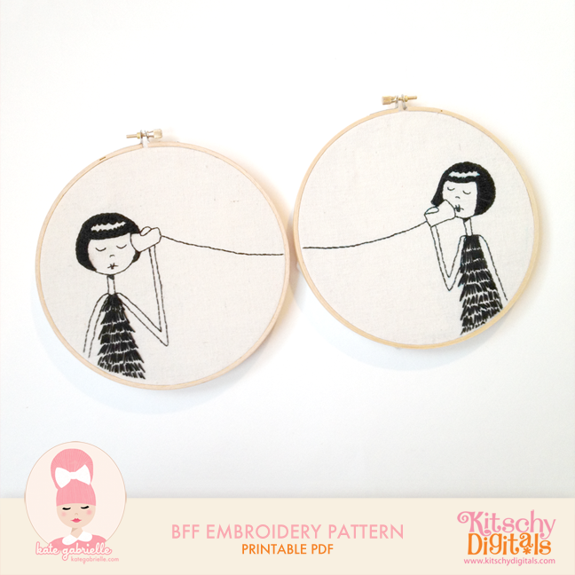 BFF embroidery pattern - so sweet!
