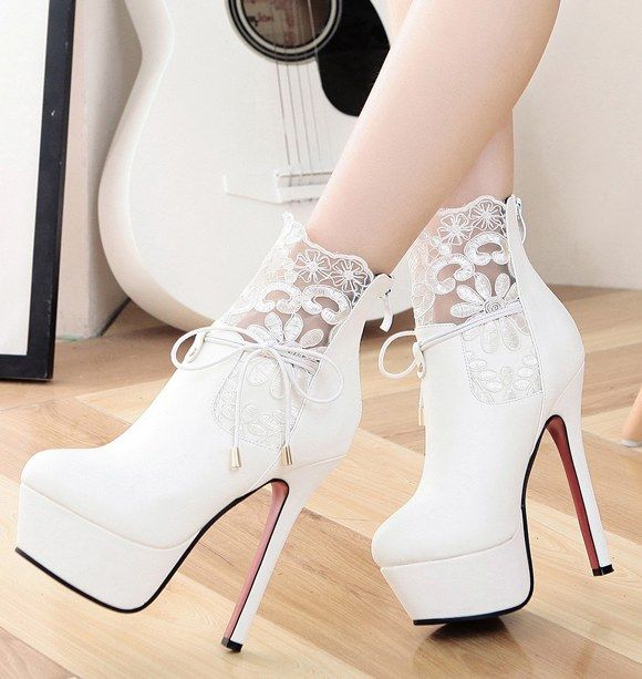 17568c718c6 Classy High Heel Fashion Boots With Lace Details More