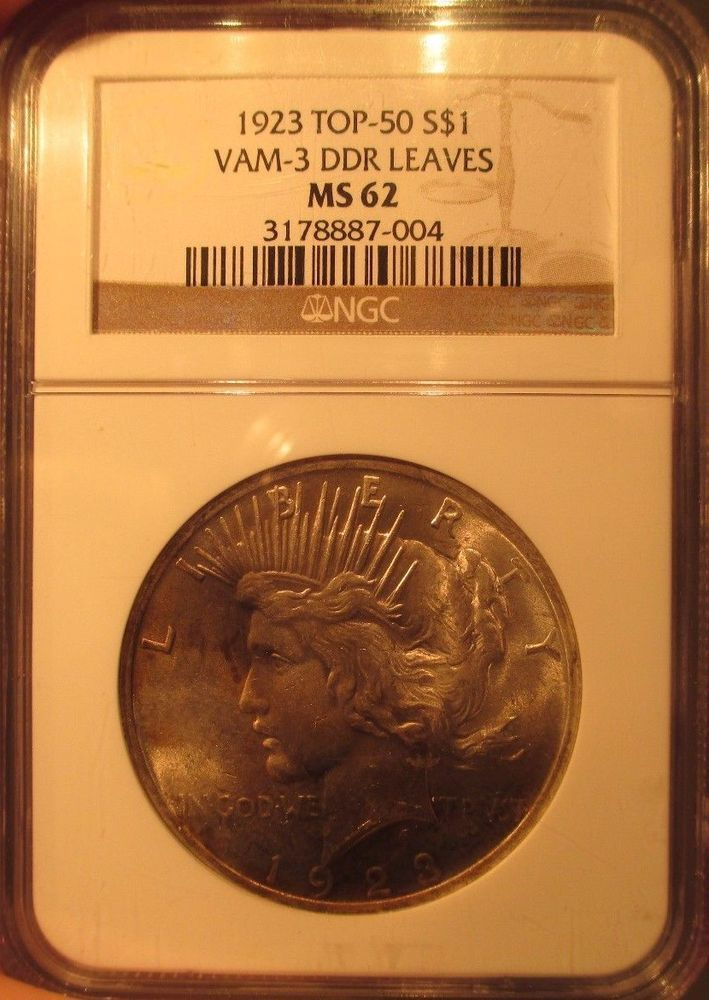 1923 $1 Silver Peace Dollar NGC MS62