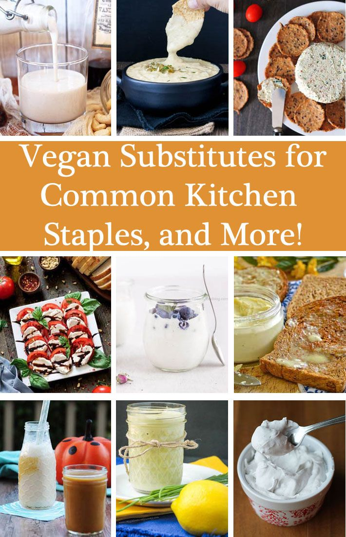 Vegan substitutes for common kitchen staples and more vegans looking for a vegan substitutes for favourite non vegan foods this list is filled forumfinder Gallery