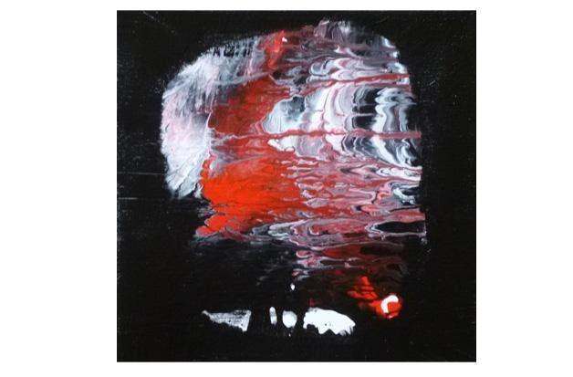 """AugusTrio Bild Kunst abstrakt modern Acrylmalerei """"Einblick"""" schwarz weiß rot abstract art on canvas von Susannes Kreativ-Lädchen auf DaWanda.com"""