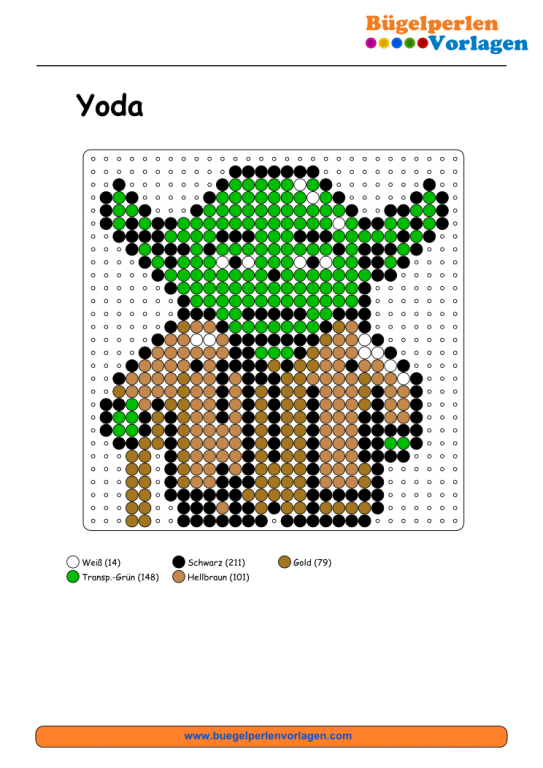 Spielwaren Kroll Hama Vorlage Yoda Star Wars Quilt