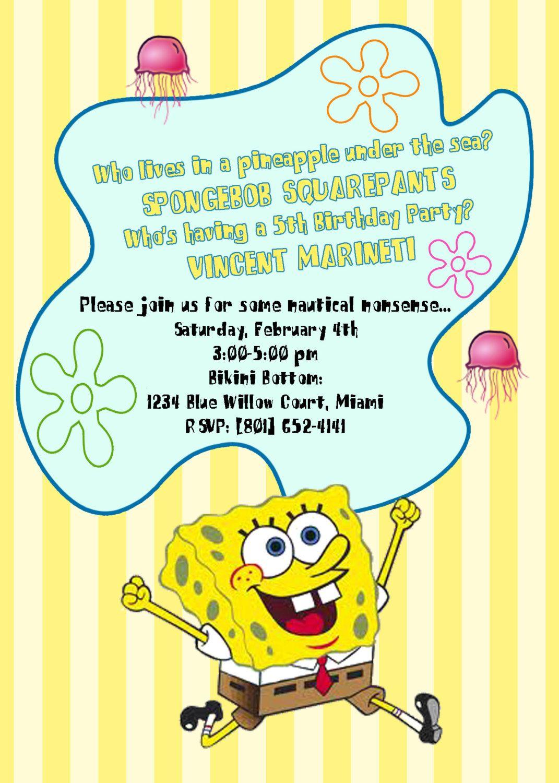 Spongebob Invite | birthday party ideas | Pinterest