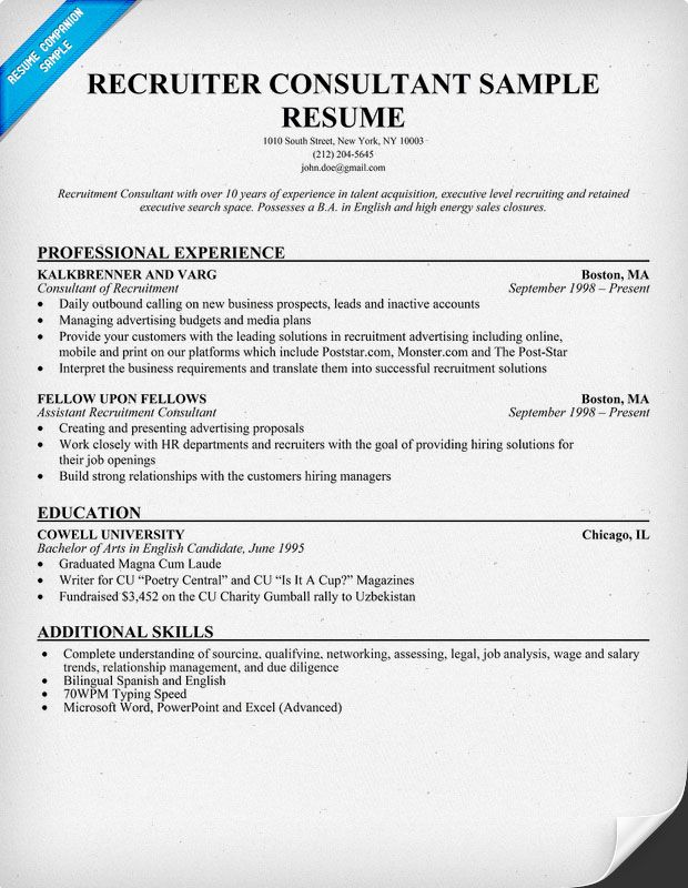 Recruiter Consultant Resume (resumecompanion) Recruitment - talent acquisition specialist sample resume