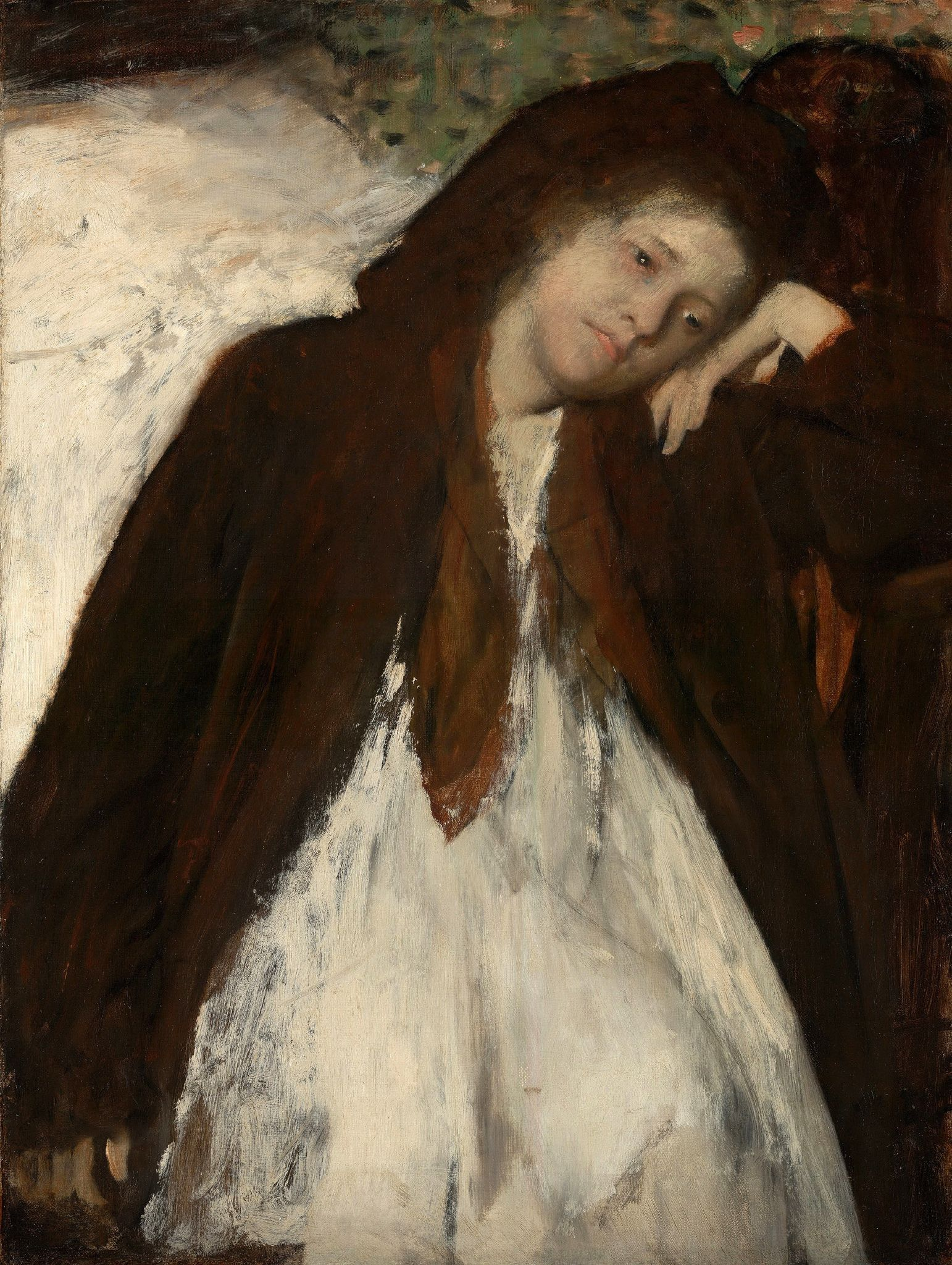 https://flic.kr/p/d6QL2f   Edgar Degas - Convalescent [c.1872-87]   Although the identity of the sitter in this portrait is a mystery, Edgar Degas conveyed her character by capturing the overwhelming sorrow to which she has succumbed. Posed with her head tilted and leaning against the back of her left hand, she appears weary. Her languorous expression and red-rimmed eyes, together with the limp right arm hanging at her side, suggest a physical or emotional malady, though nothing in the…