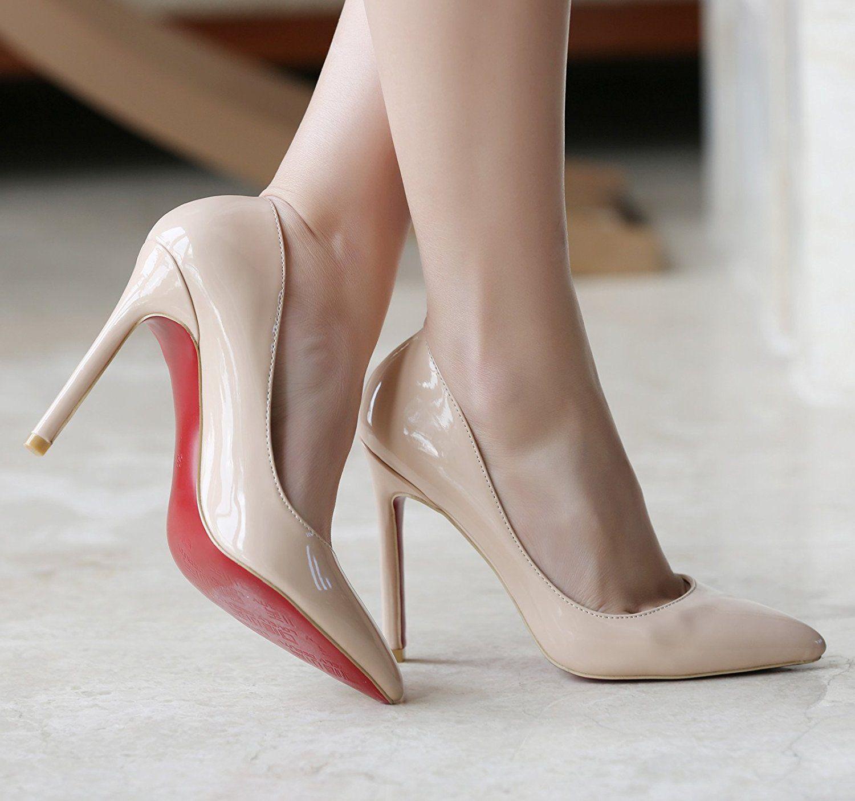 1d7bc0603a0 YE Damen Spitze High Heels Stiletto Lackleder Pumps mit Roter Sohle Party  Elegant Schuhe  Amazon.de  Schuhe   Handtaschen
