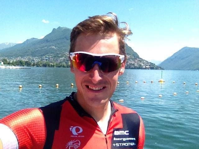Marcus Burghardt on Facebook - in the morning recon of the prolog and after a drink at lago lugano with Silvan Dillier