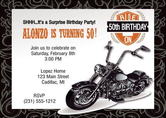 Motorcycle 50th Invitation Motorcycle 50th Birthday Invitation