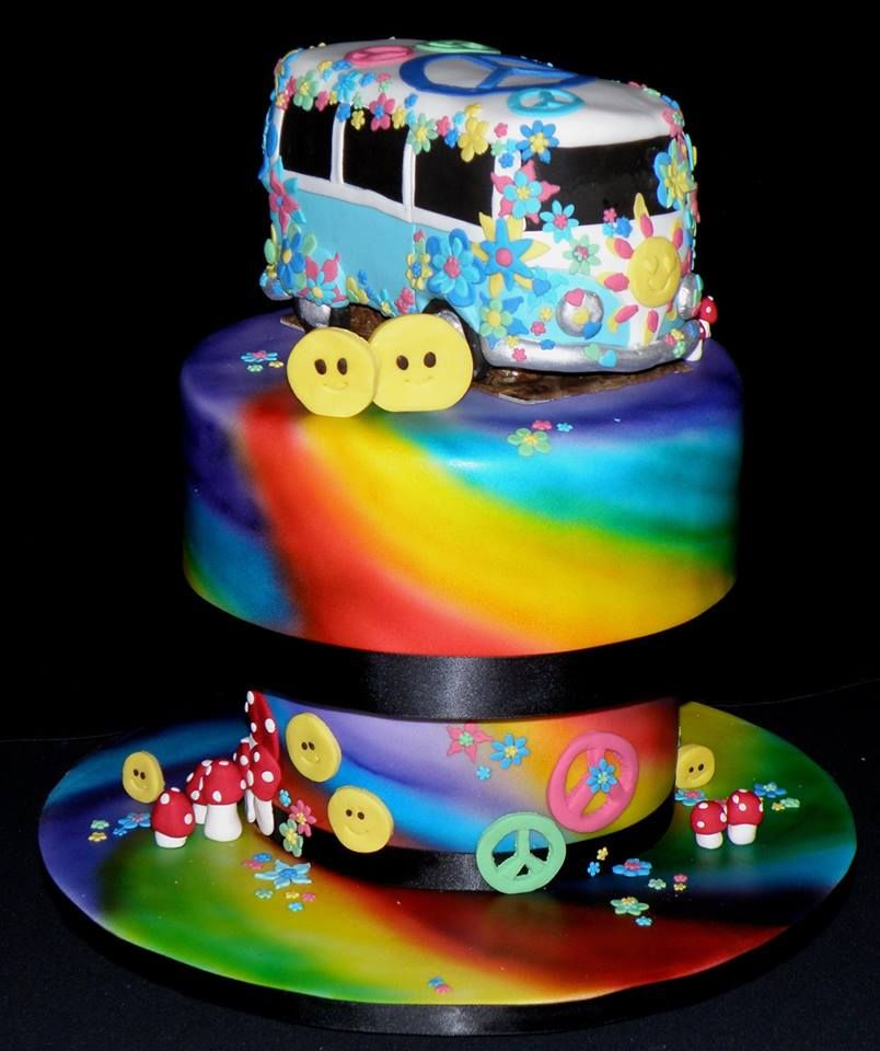 Fantastic Magical Hippie Birthday Cake So Fun With The Combi Van Peace Funny Birthday Cards Online Unhofree Goldxyz