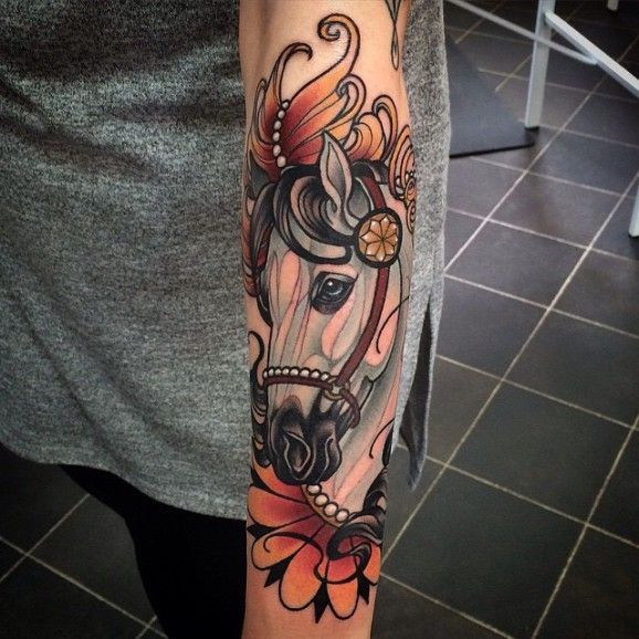 Neo Traditional #horse #tattoo Artwork By Kat Abdy.