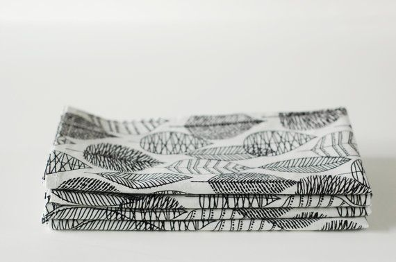 Set of 4 Cloth Table Napkins / Organic Cotton / Black by SUZUYA, $17.00