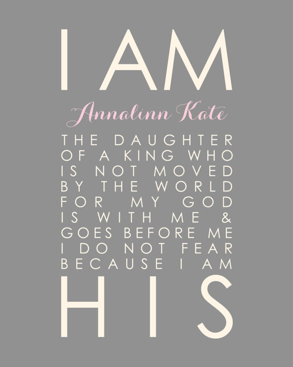 Baptism Gift Girl I Am His Daughter Of The King Baby