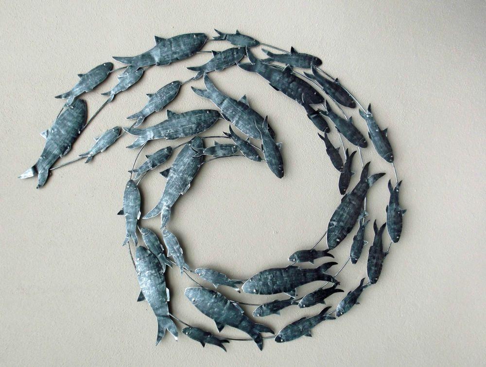 Contemporary Silver Fish Shoal Metal Wall Art Unusual Hand Made Metal Wall Fish Balik Metal Seramik