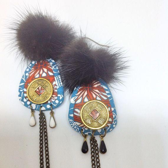 Boucles d'oreilles bijou style ethnique, berbére ,en pâte polymére ,medaillons,gouttes emaillées