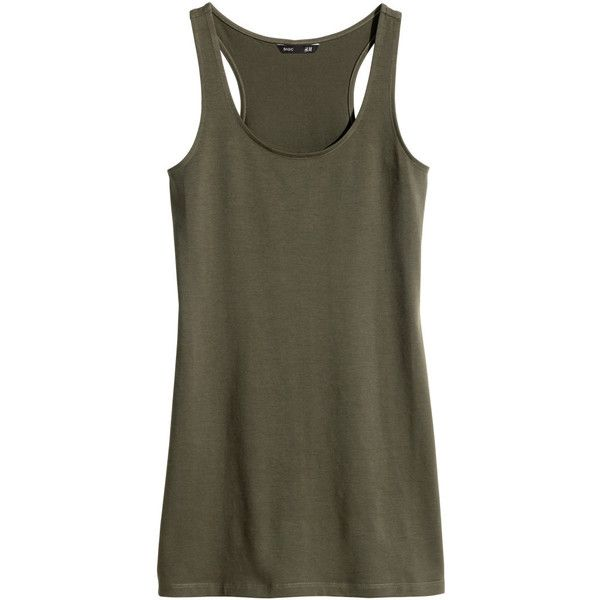 H&M Long jersey top (13 BRL) ❤ liked on Polyvore featuring tops, tank tops, khaki green, racerback tank, h&m tank tops, jersey top, jersey tank top and long tops