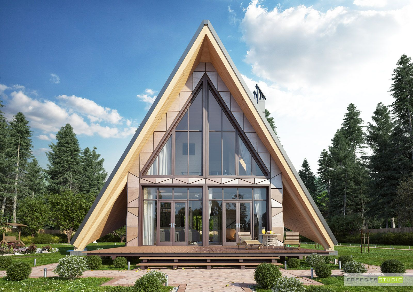 черно белое треугольное фото дома одной