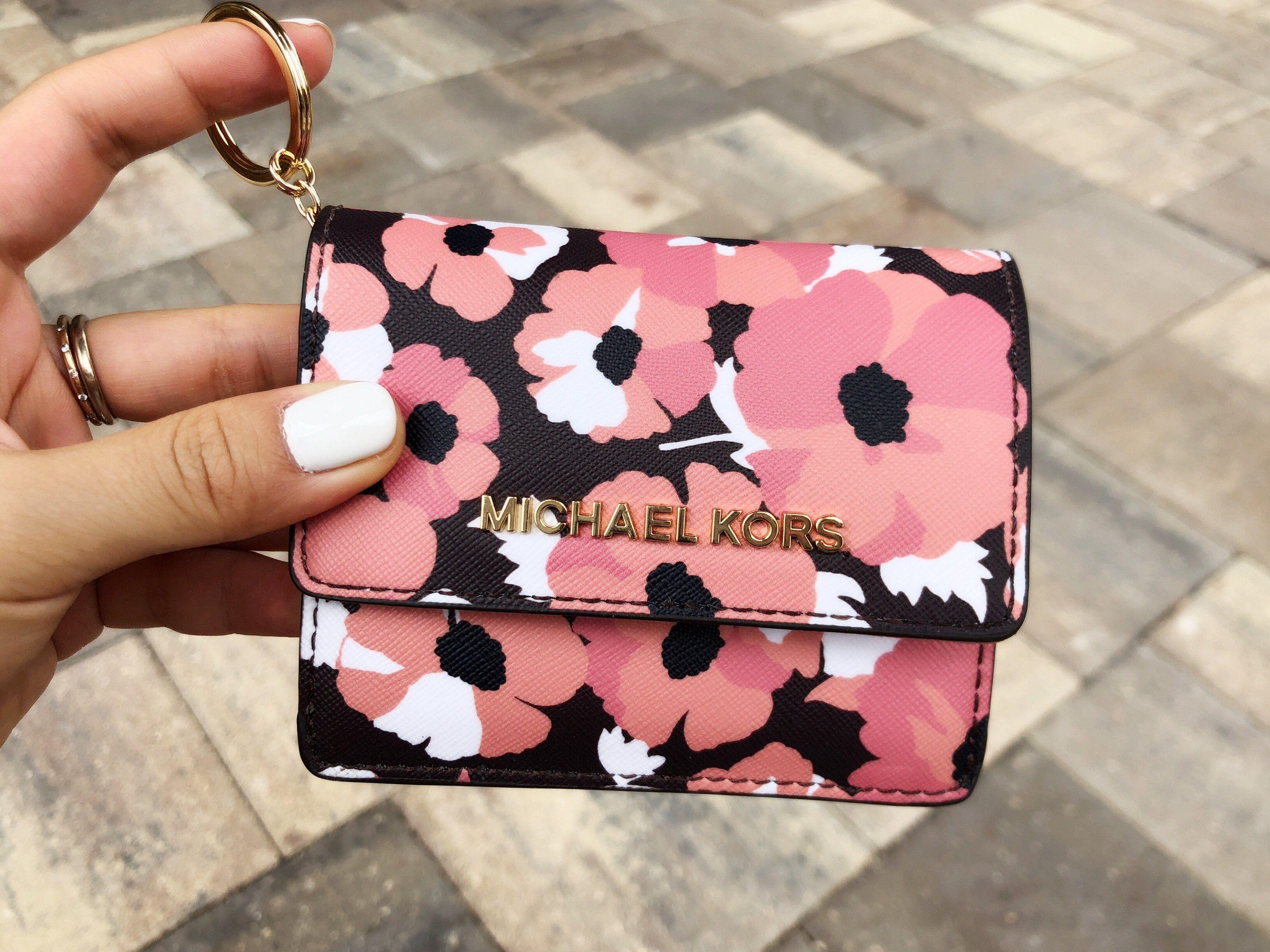 096b350d7d2a Michael Kors Jet Set Card Holder Key Ring Chain ID Peach Floral   topratedseller  Handbags  ebaystore  amazon  Poshmark  top  posh   ebaycommunity ...