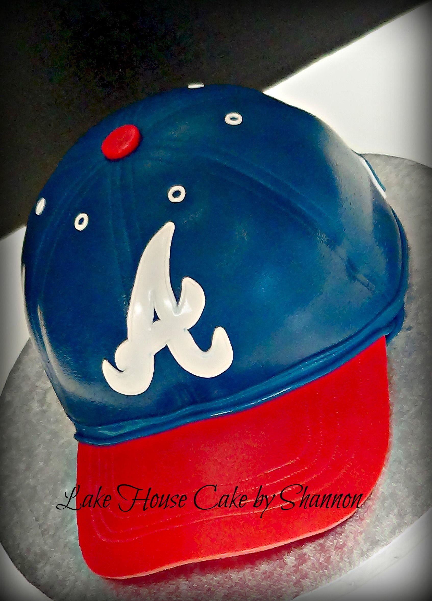 Atlanta Braves Baseball Cap Hat Red White Blue Groom s Cake Lake House Cake  by Shannon e1c132a1e50a