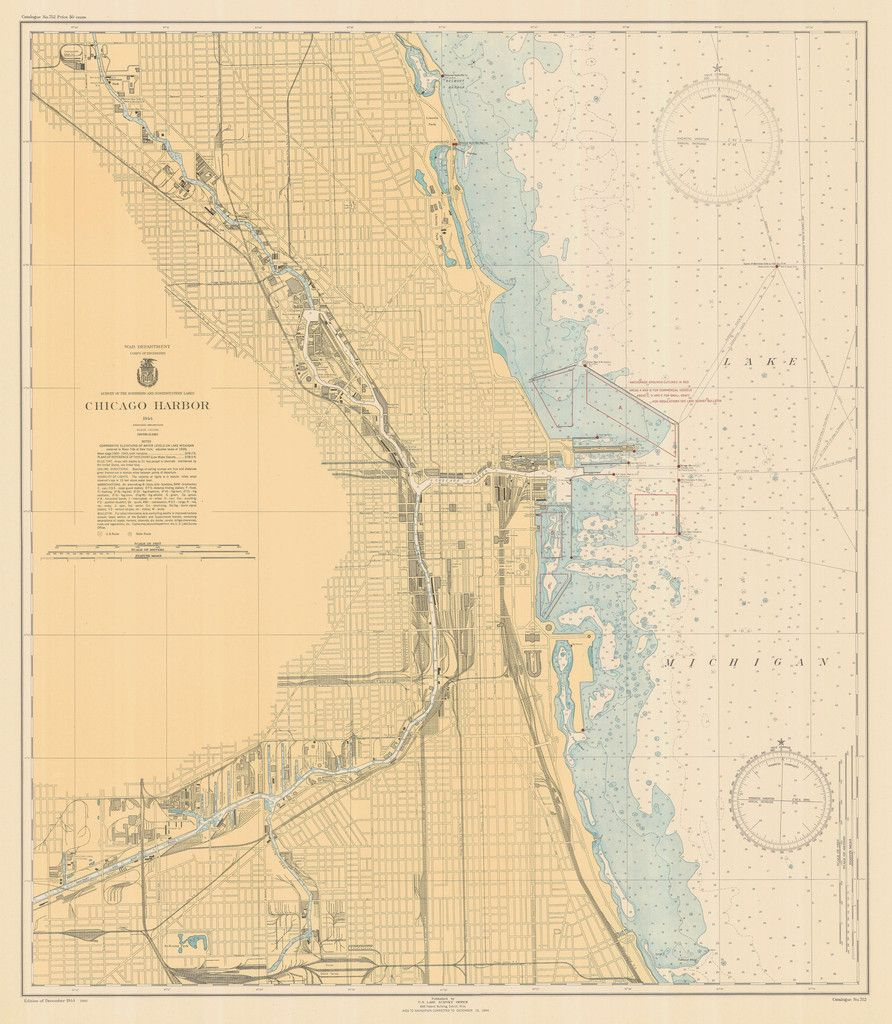 Lake Michigan Chicago Harbor Historical Map  Chicago - Chicago map lake michigan