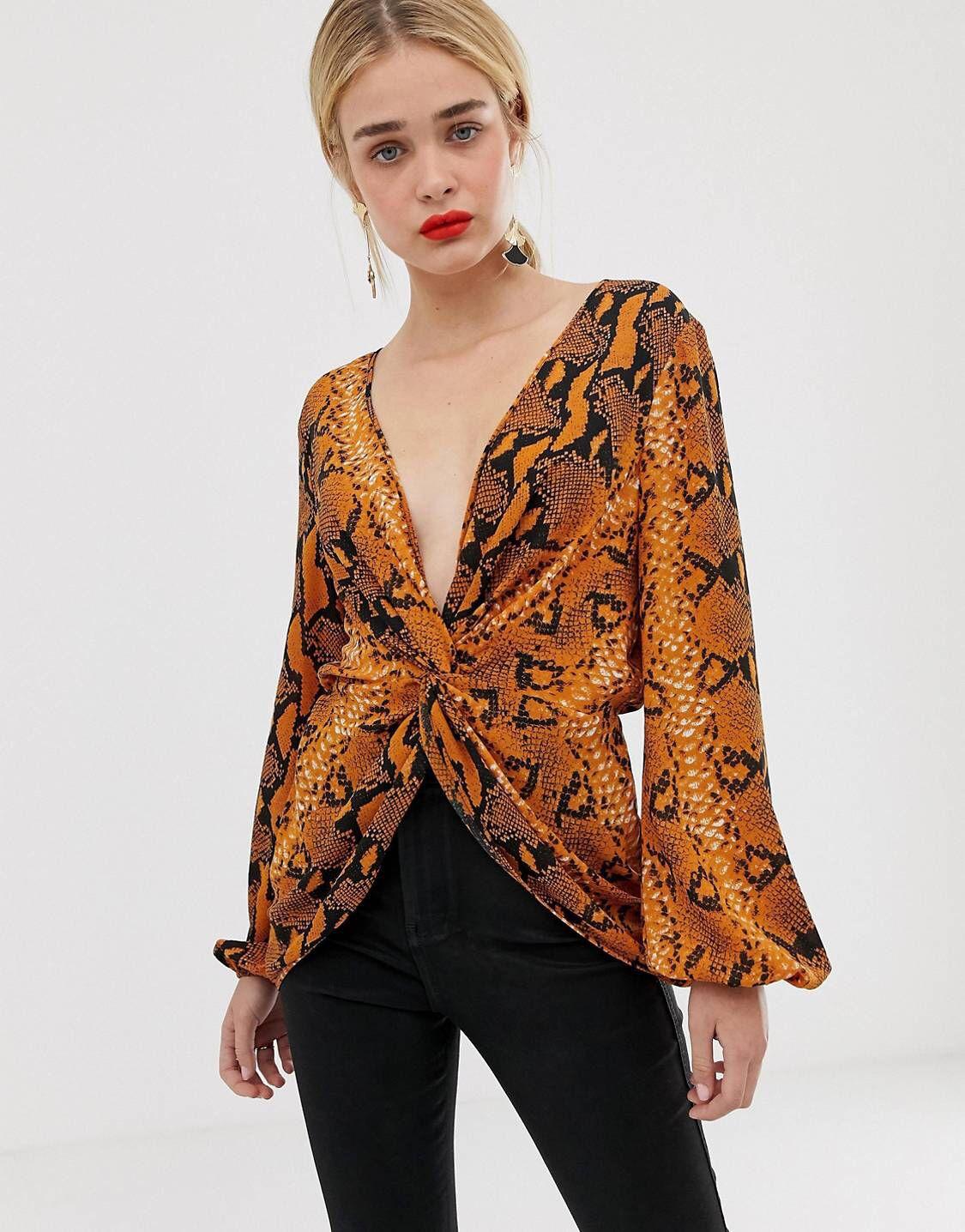 33ade655af7805 DESIGN twist front long sleeve top in snake animal print