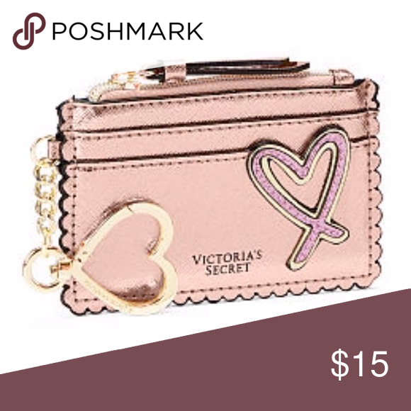 Victoria's Secret Pink Heart Red Lips Credit Card Case Coin Wallet Keychain