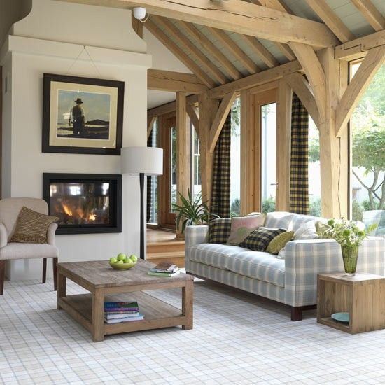 modern highland style living room this elegant country living room contrasts bold tartan curtains with a soft aqua checked sofa a matching picture frame - Modern Country Wohnzimmer