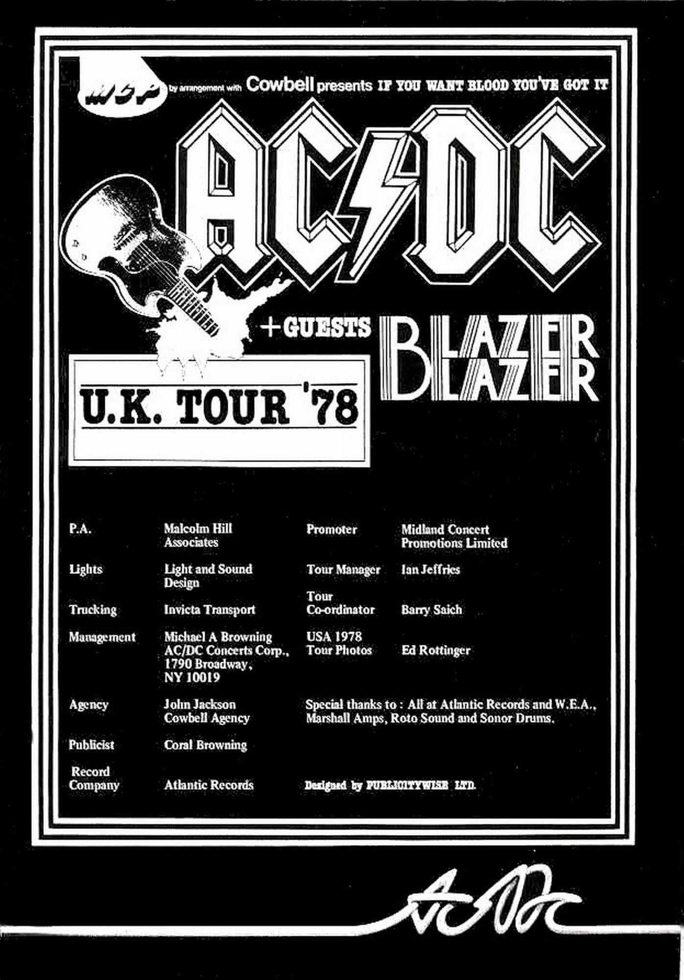 Ac Dc Vintage Poster Uk Tour 1978 Vintage Concert Posters Concert Posters Vintage Posters Uk