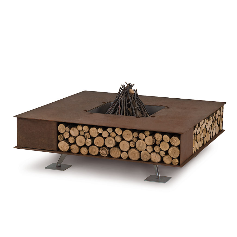 Photo of AK47 TOAST Contemporary Garden Fire Pit. Square Fire Pit & Log Store.