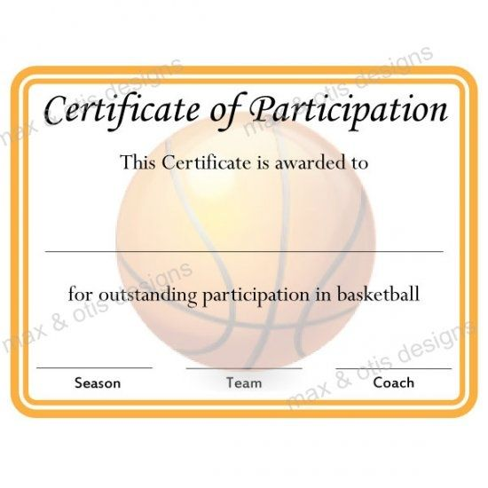 Basketball+Participation+Certificate+Template lerma Pinterest