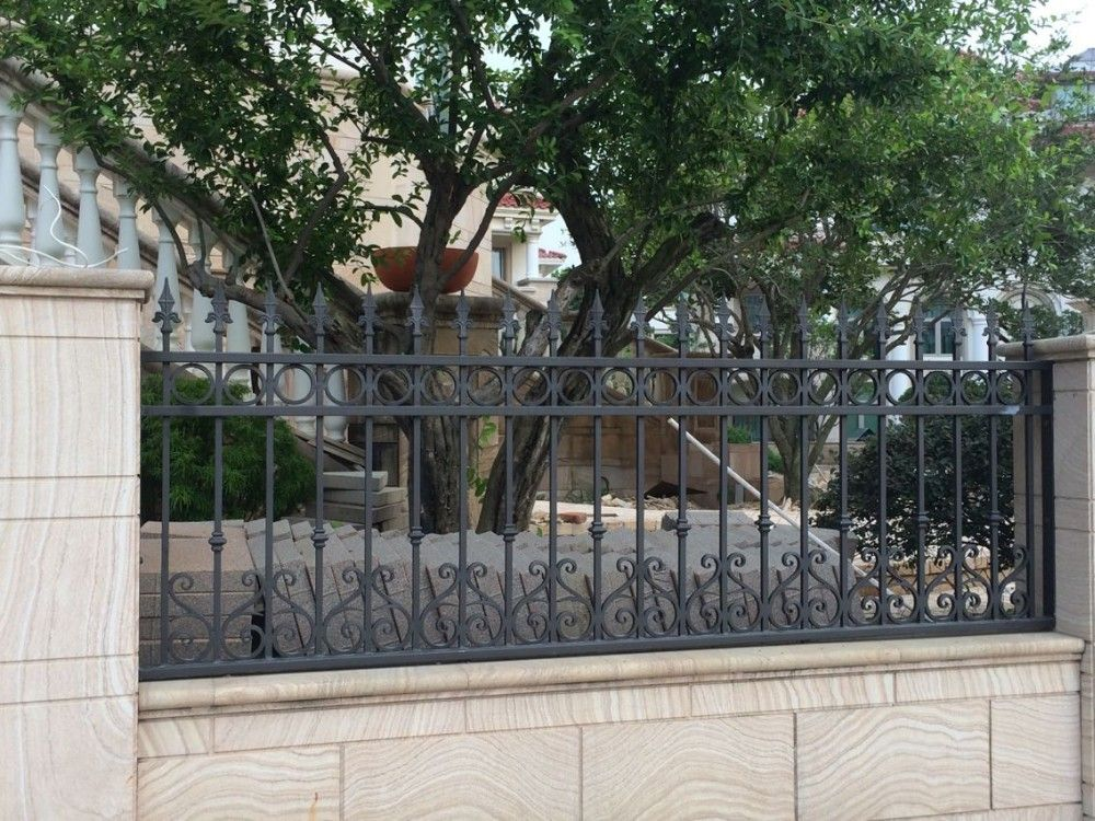 Wrought Iron Picket Fences Panels Garden Security Black