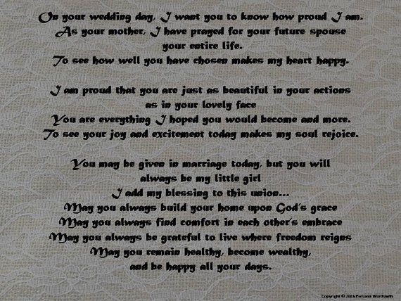 Mother of Bride Poem, Wedding Poetry, Mother's Toast at