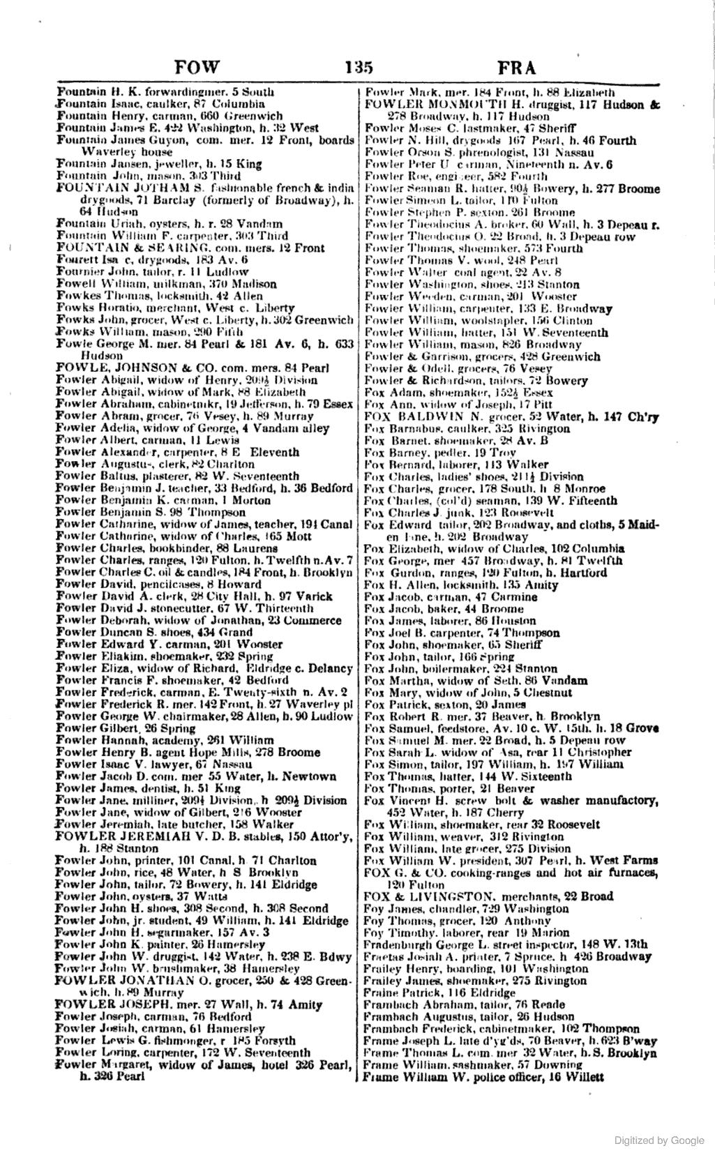 1845 Fowler Isaac V Lawyer 67 Nassau Nassau Team Blue New