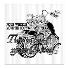 Two Wheels Move The Soul Motorcycle Shower Curtain By Insanitywear Fabric Shower Curtains Shower Curtain Shower