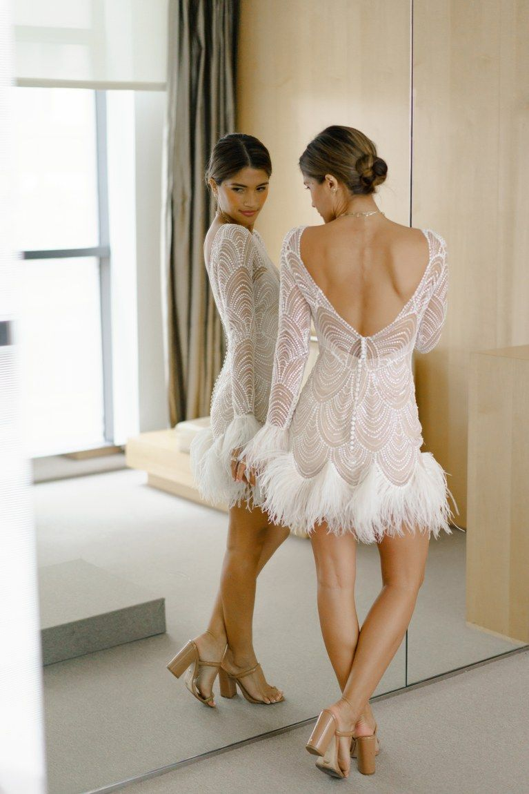 An Inside Look At Rocky Barnes And Matthew Cooper S Wedding Wedding Dress With Feathers Mini Wedding Dresses Courthouse Wedding Dress [ 1150 x 767 Pixel ]