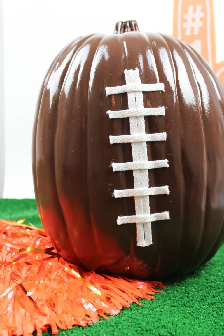 Diy Football Pumpkins Let S Mingle Blog Football Diy Football Party Decorations Football Decorations