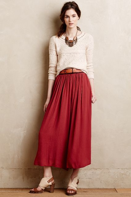 Skirted Tulip Wide-Legs - anthropologie.com--trying to figure out how to DIY this...