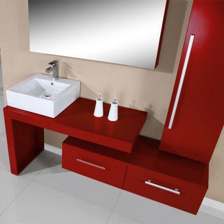 Sd9250rc Meuble Salle De Bain Rouge Cerise Bathroom Salle De