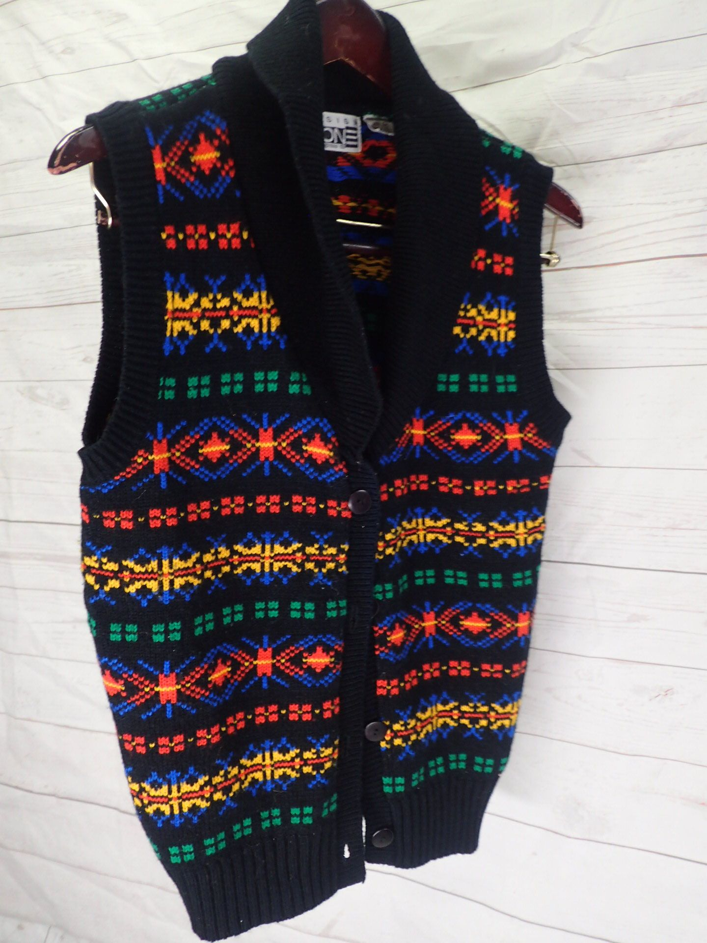80s Womens Knit Vintage Pullover Sweater Vest W Bigger Collar