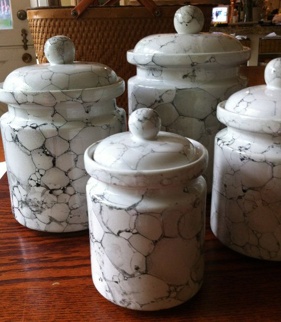 White Kitchen Canister Set - Ceramic Marble Glaze in 2019 ...