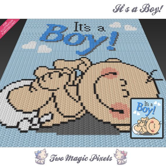 Its A Boy Crochet Blanket Pattern Knitting Cross Stitch Graph