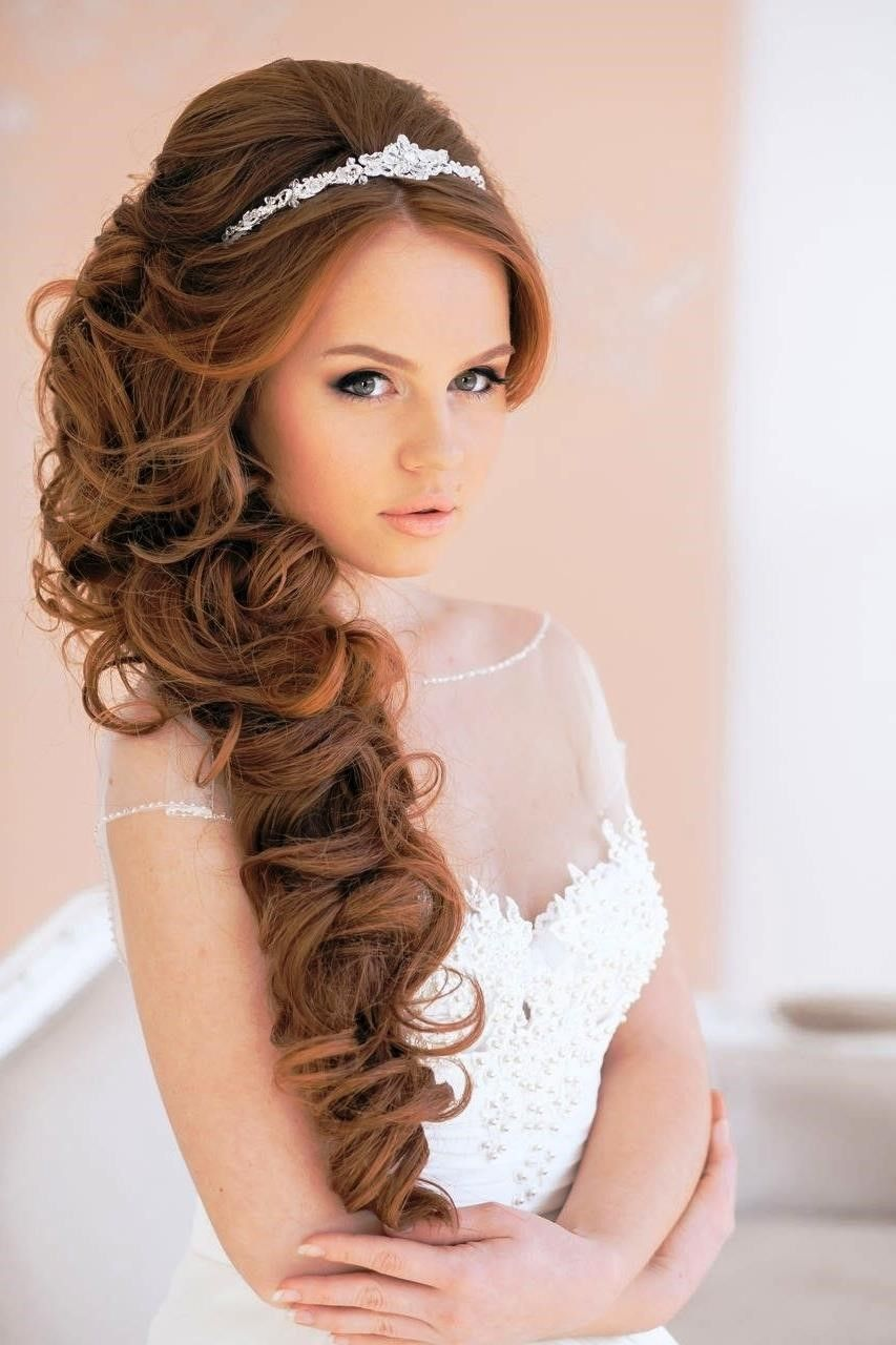 Long curly wedding hairstyles with tiara weddinghairstyles