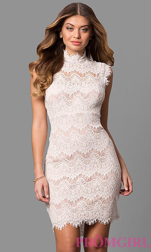 Lace One Sleeve Short Prom Dresses