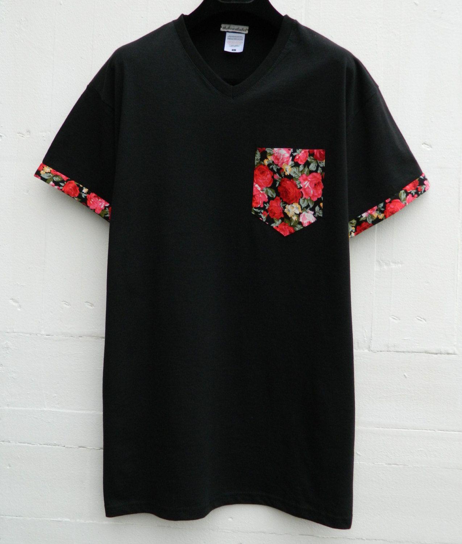 Men's V-Neck Floral Pattern with Sleeves, Black Pocket T ...