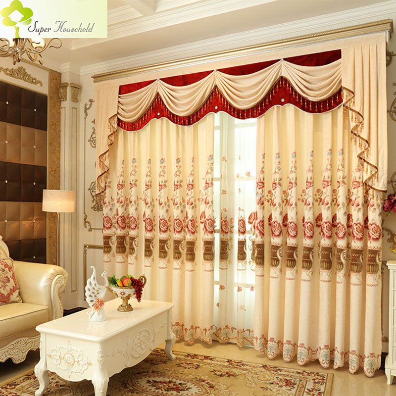 window curtain sizes mega pc romantic curtains for living room embroidered luxury kitchen bedroom chenille window valance without valance