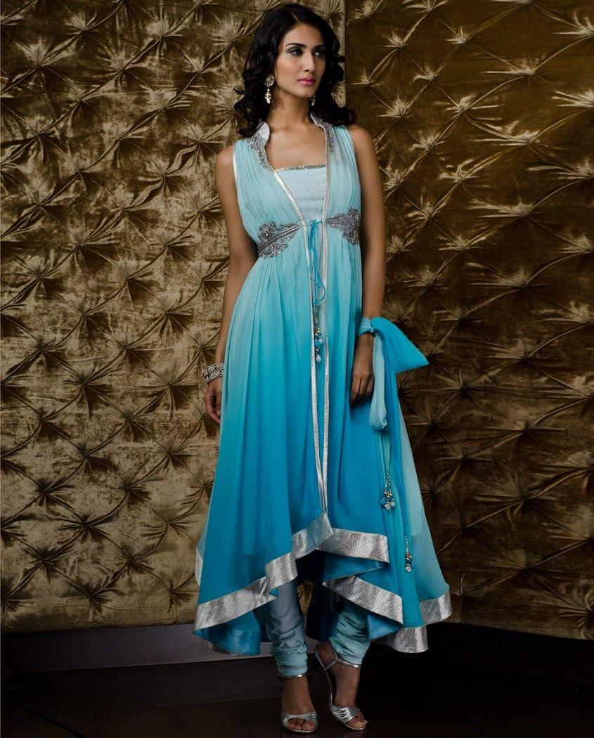 Ugly model but beautiful Sky blue designer suit | Indian Trendz ...
