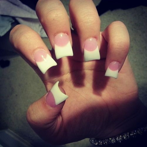Short Acrylic Nails Duck Pink And White Acrylics Self Picture