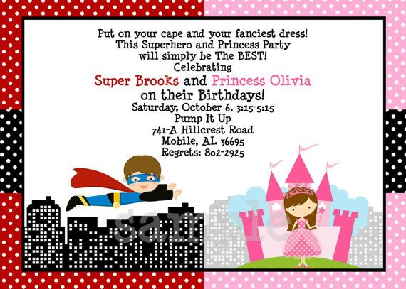 Superhero Princess Birthday Invitation For Twins Or Siblings