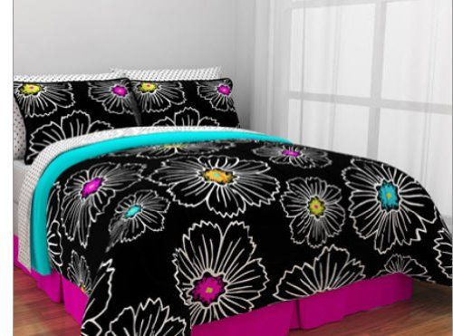 Hot Pink Teal Black Teen Girls Queen Comforter Set 8 Piece Bed In